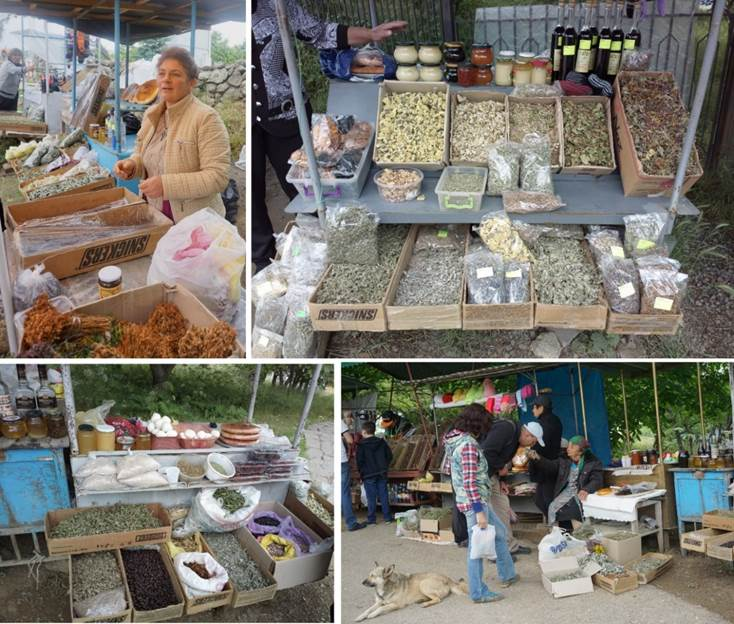 The artisan market along the road to the Tatev Monastery (June 2017). Primarily medicinal and aromatic plants and homemade products (jams, wines, vodkas, honeys, sweets, etc.) are traded here.